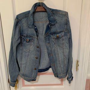 H&M denim jacket men's size M worn as women's XL